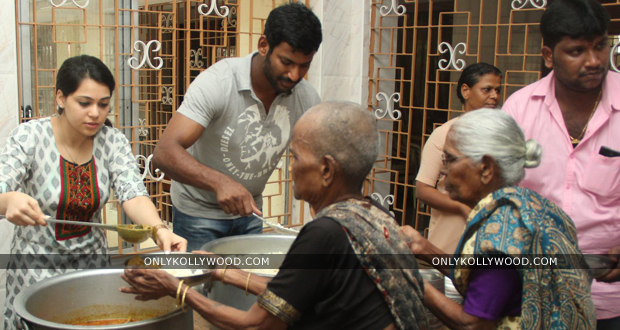 Photo of Vishal serves food to old age home to celebrate Mother's Day