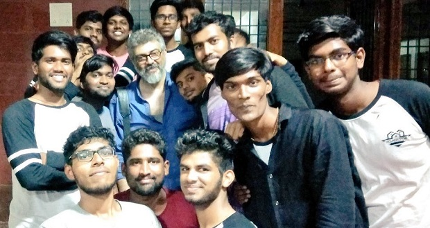 Photo of Ajith visits MIT Chennai, shows interest in quadcopter designs and technology