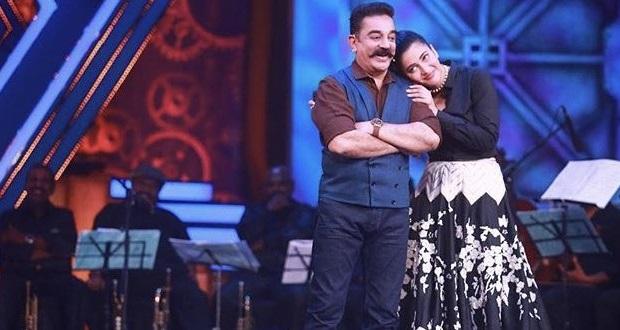 Photo of Kamal Haasan and Shruti Haasan croon Vishwaroopam 2 tracks at Bigg Boss 2