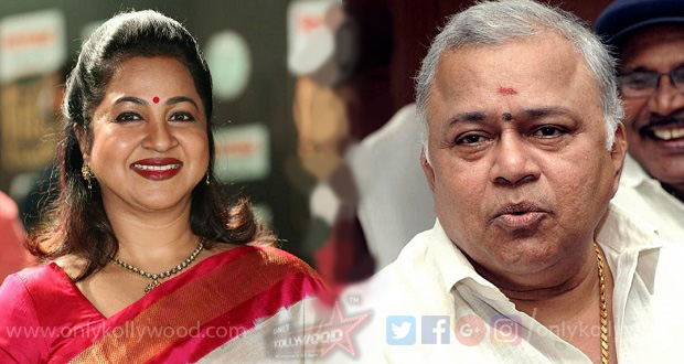 Photo of Radharavi & Radhika Sarathkumar on board Atharvaa's Kuruthi Aattam