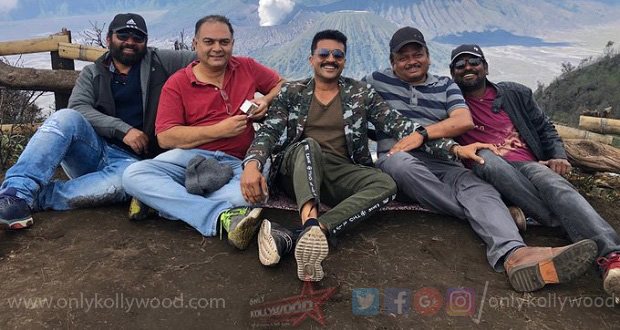 Photo of Kaappaan final song being shot in Java Island, Indonesia