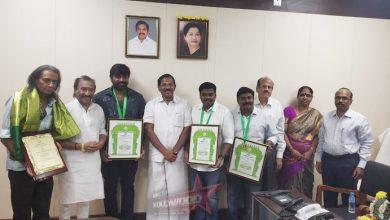 Photo of Vijay Sethupathi honored with Kalaimamani Award